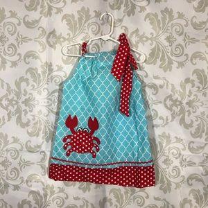 NÉW Adorable Blue Crab Polka Dot Dress